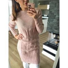 Svetrové šaty Dara - pudrová