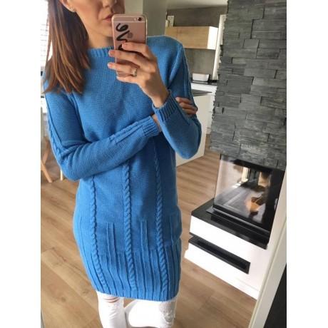 Svetrové šaty Dara - modrá